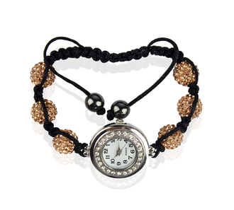 LSB0018- Champagne Shamballa Watch Bracelets ( Decorative watch)
