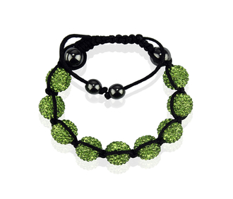 LSB0017-Green Shamballa Bracelet Crystal-Disco Ball Friendship Bead