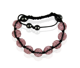 LSB0017-Pink Shamballa Bracelet Crystal-Disco Ball Friendship Bead