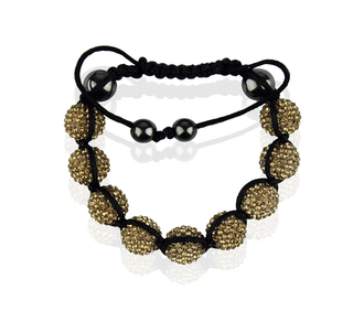 LSB0017-Coffee Shamballa Bracelet Crystal-Disco Ball Friendship Bead
