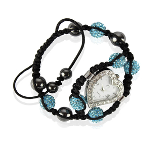 LSB0019-Teal Crystal Shamballa Watch Bracelets ( Decorative watch)