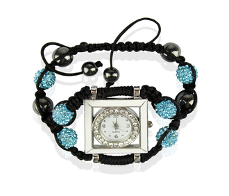 LSB0020-Teal Crystal Shamballa Watch Bracelets ( Decorative watch)