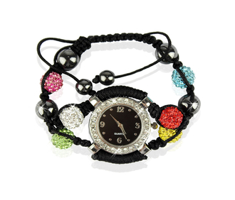 LSB0021-Multi Colour Crystal Shamballa Watch Bracelets ( Decorative watch)