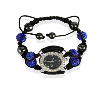 LSB0021-Royal Blue Crystal Shamballa Watch Bracelets ( Decorative watch)