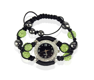 LSB0021-Coffee Crystal Shamballa Watch Bracelets ( Decorative watch)