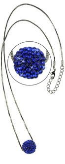 LSN005-Royal Blue Sparkling Disco Ball Necklace