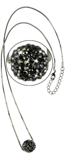 LSN005-Black Sparkling Disco Ball Necklace