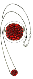 LSN005-Red Sparkling Disco Ball Necklace