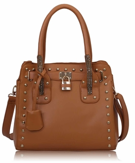 LS00262- Brown Studded Tote Bag With Padlock