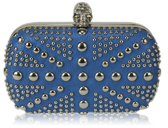 LSE00135-Blue Studded Clutch Bag With Crystal-Encrusted Skull Clasp