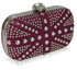 LSE00135-Wholesale & B2B Purple Studded Clutch Bag With Crystal-Encrusted Skull Clasp Supplier & Manufacturer