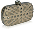 LSE00135-Beige Studded Clutch Bag With Crystal-Encrusted Skull Clasp
