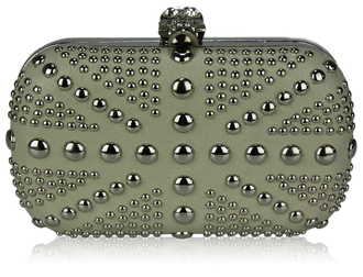 LSE00135-Ivory Studded Clutch Bag With Crystal-Encrusted Skull Clasp