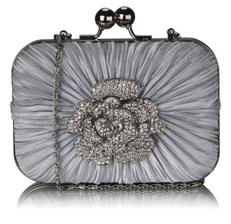 LSE00137 - Gorgeous Satin Rouched Brooch Hard Case Silver Evening Bag