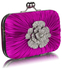 LSE00137 - Gorgeous Satin Rouched Brooch Hard Case Purple Evening Bag