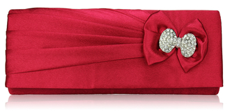 LSE00141- Red Sparkly Crystal Satin Clutch purse