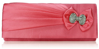 LSE00141- Pink Sparkly Crystal Satin Clutch purse
