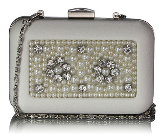 LSE00148 - White Beaded Box Clutch Bag With Crystal Decoration