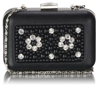 LSE00148 - Black Beaded Box Clutch Bag With Crystal Decoration