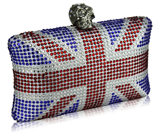 LSE00151- Women's Union Jack Box Clutch With Skull Clasp