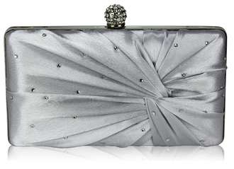 LSE0080 - Silver Satin Crystal Clasp Evening Evening Clutch Bag