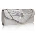 LSE0067- Silver Sparkly Crystal Satin Clutch purse