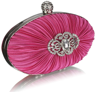 LSE0093 - Gorgeous Pink Crystal Satin Rouched Hard Case Evening Bag