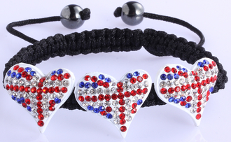 LSB0022-Union Jack Crystal Heart Shaped Bracelet