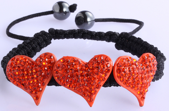 LSB0022-Orange Crystal Heart Shaped Bracelet