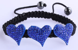 LSB0022-Royal Blue Crystal Heart Shaped Bracelet