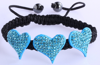 LSB0022-Teal Crystal Heart Shaped Bracelet