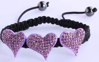 LSB0022-Purple Crystal Heart Shaped Bracelet