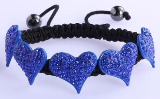 LSB0024-Blue Crystal Heart Shaped Bracelet