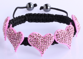 LSB0024-Pink Crystal Heart Shaped Bracelet