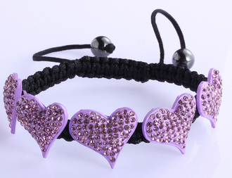 LSB0024-Purple Crystal Heart Shaped Bracelet