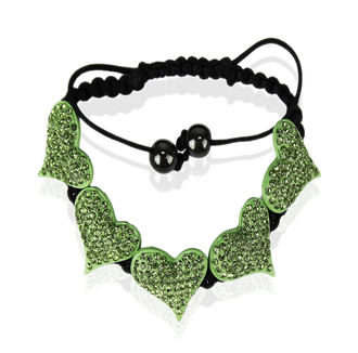 LSB0024-Green Crystal Heart Shaped Bracelet