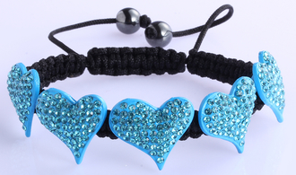 LSB0024-Teal Crystal Heart Shaped Bracelet