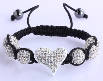 LSB0025-White Crystal Heart Shaped Bracelet