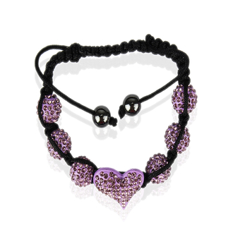 LSB0025-Purple Crystal Heart Shaped Bracelet