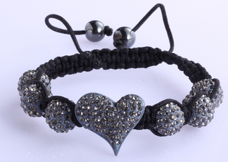 LSB0025-Grey Crystal Heart Shaped Bracele