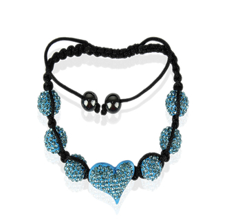 LSB0025-Teal Crystal Heart Shaped Bracele