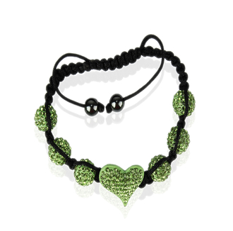 LSB0025-Green Crystal Heart Shaped Bracele