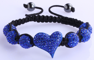 LSB0025-Blue Crystal Heart Shaped Bracele