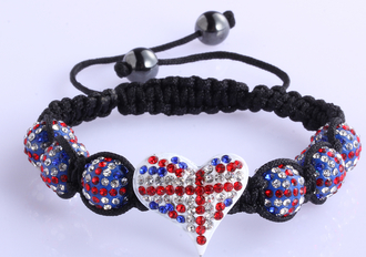 LSB0025-Union Jack Crystal Heart Shaped Bracele