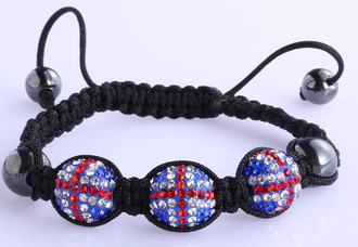 LSB0026-Union Jack Shamballa Bracelet Crystal-Disco Ball Friendship Bead