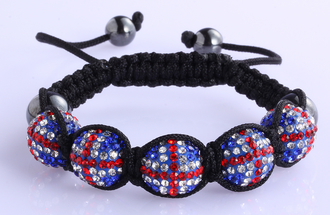 LSB0027-Union Jack Shamballa Bracelet Crystal-Disco Ball Friendship Bead
