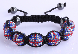 LSB0028-Wholesale & B2B Union Jack Shamballa Bracelet Crystal-Disco Ball Friendship Bead Supplier & Manufacturer