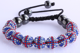 LSB0030-Union Jack Shamballa Bracelet Crystal-Disco Ball Friendship Bead