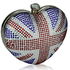 LSE00152 - Union Jack Diamante Hardcase Heart Clutch Bag