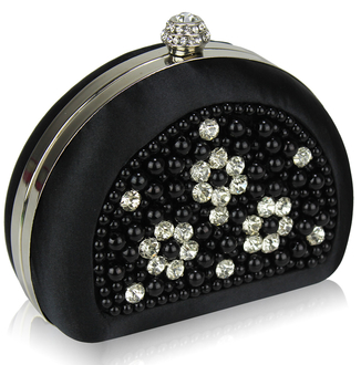 LSE00153 - Black Beaded Pearl Rhinestone Clutch Bag